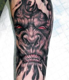 For a devilish exterior, these demon tattoos for men are unparalleled. They strike a perfect balance between occult imagery, manly energy and goth appeal. Arm Tattoos Demon, Angel Demon Tattoo, Satanic Tattoos, Devil Tattoo, Head Tattoos, Life Tattoos, Tattoos For Guys, Sleeve Tattoos, Evil Skull Tattoo