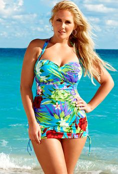 Swim Sexy Teal Aqua Floral Shirred Bandeau/Halter Swimdress - swimsuitsforall
