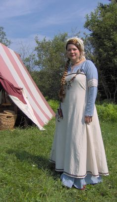 Blue and white Viking dress by ~Laerad on deviantART - perhaps those colours not for camping? Looks great though.