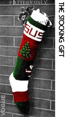INSTANT DOWNLOAD Please Note: ** PDF Pattern Only, NO YARN or materials included with purchase. VOGUE - Knitted Christmas Stocking - PDF Pattern Christmas is that wonderful, once-a-year time when you make your home specially beautiful for the holiday. Personalized stocking make wonderful Christmas gifts! All ages like it, from the personalized name, to the sequence tree, and backpacked Santa. 65 years ago, VOGUE issued this wonderful pattern in their holiday magazine. Due to many request…