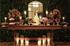 muro inglês| casamento | mesa de bolo | velas