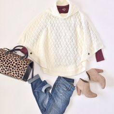Cable knit poncho, Loft modern distressed jeans, clare V sandrine satchel, beige booties.  Click on the following link to see all of the photos and more outfit ideas:  http://www.stylishpetite.com/search/label/Outfit%20Layouts