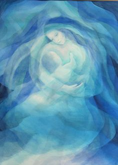 Mother and child prophetic art in blue. Divine Mother, Blessed Mother Mary, Art Prophétique, Prophetic Art, Mary And Jesus, Madonna And Child, Art Et Illustration, Angel Art, Sacred Art