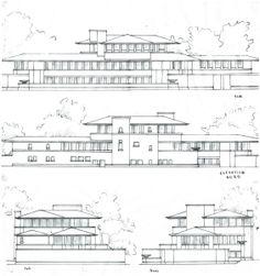 Elevations Robie House - Frank Lloyd Wright – Chicago IL USA 1906-1909 // Tan-Izambert-VillardVuitton Analyse par : Senwen TAN + Cécile IZAMBERT + Roxanne VILLARD-VUITTON