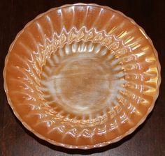 "Vintage Anchor Hocking Fire King Peach Luster Iridescent Orange Bowl 8 1/2"""