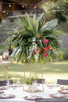 Tropical greenery and pink floral centerpieces in golden geometric planter. Floral Centerpieces, Wedding Centerpieces, Wedding Table, Wedding Themes, Wedding Photos, Destination Wedding, Wedding Planning, Costa Rica, Real Weddings