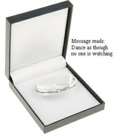 dance as though no one is watching. silver plated message bangle