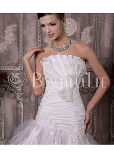 $278.49Vita Satin And Organza Chapel Train Scalloped-Edge Pleats And Tiers #A-Line Wedding Dress