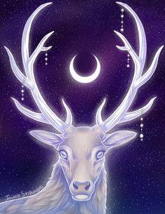 Moon Stag Spirit. Artwork by Jayne Strange.
