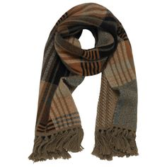 Mulberry - Knitted Check Scarf in Black Angora Blend