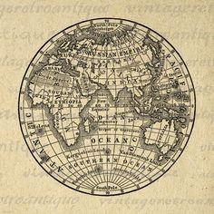 Printable Globe Digital Image Antique Earth Globe Map Image