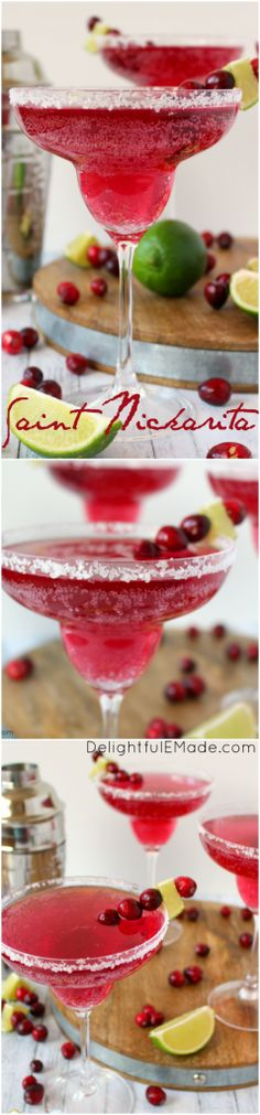 Cranberry and lime flavors come together with tequila for the most amazing holiday cocktail! Perfect for all of your Christmas parties and holiday gatherings, this easy, delicious margarita is perfect for enjoying under the mistletoe! #SK #ad #ChewHoliday