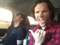 """Jared on facebook """"Heading to #HousCon with SOMEBODY (Jensen Ackles) who must've stayed up too late! Should I pick his nose or wipe his drool?"""""""