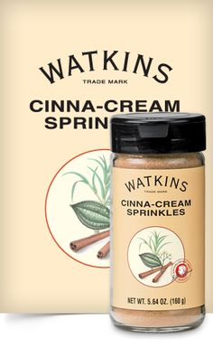 Cinna-Cream Sprinkles | J.R. Watkins Item #25310 - $9.99 Combine Watkins Cinnamon with the sweet, creamy taste of vanilla icing, and suddenly your morning toast tastes like a cinnamon bun! Just sprinkle on buttered toast; also great on cereal or oatmeal.  Independent Watkins Consultant - ID# 403264