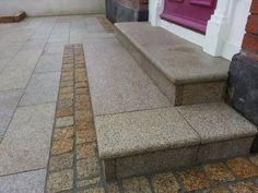 Gold granite paving, cobbles & kerbs - Flynn Landscapes Granite Paving, Driveway Paving, Stone Landscaping, Natural Stones, Tile Floor, Landscapes, Gardens, Patio, Flooring