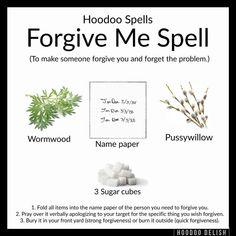 Hoodoo - Forgive Me Spell Witch Spell Book, Witchcraft Spell Books, Hoodoo Spells, Magick Spells, Witchcraft Spells For Beginners, Grimoire Book, Voodoo Hoodoo, Herbal Magic, Chakra