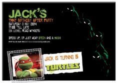 TMNT party for the family and adults after the kids have gone home. Bar Mitzvah, Sweet Sixteen, Tmnt, Party Printables, Rsvp, Custom Design, Party Ideas, Invitations, Birthday