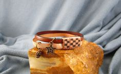 2 Strands 5mm Leather Bracelet with Copper Charms