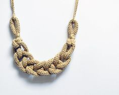 Statement necklace, chain knit necklace. Ecru cotton necklace. Yarn jewelry, neutral. Nautical necklace