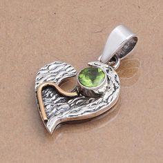 925 STERLING SILVER DESIGNER PERIDOT PENDANT 3.99g DJP3990 #Handmade #Pendant