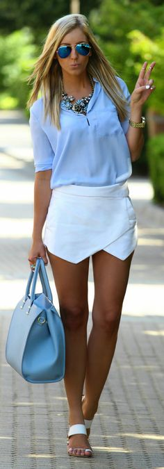 Sheinside Blue Women's Chiffon Split Neckline Thin Collar Blouse by Styleandblog.com
