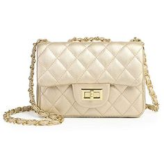 8f0721cf5df Volcanic Rock Women Quilted Crossbody Bag Girls Side Purse and Shoulder  Handbags Designer Clutch with Chain (Gold)