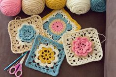 Crochet granny squares.  Drops pattern, can be found here:  www.garnstudio.com