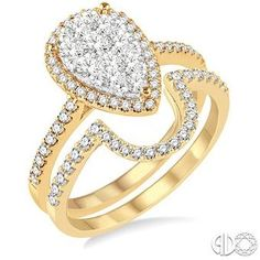 Yellow Gold Pear Halo Wedding Set ASHI 13251FVYG-WS #seneedhamjewelers #loganutah