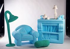 This furniture collection by designer Silva Lovasová is based on tiny toys and dolls' house furniture that have been and enlarged to full scale. Miniature Furniture, Doll Furniture, Dollhouse Furniture, Design Taxi, House Furniture Design, Interior Decorating, Interior Design, 3d Prints, Villa
