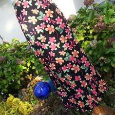 """rayon full length skirt ~ EUC~ fabric showing very little sign of wear. Hand washed, line dried, Clean ready to wear. one pull/run back bottom, hardly noticeable. 32"""" long~ waist stretches to about 22.5""""~hips about 25"""" Sag Harbor Skirts Maxi"""