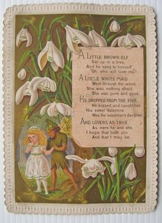 Victorian Valentines Card - A Little Brown Elf - Elf in Snowdrops - Marcus Ward   eBay