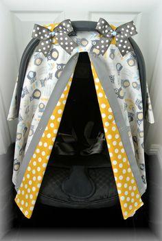 car seat canopy car seat cover owls grey teal by JaydenandOlivia.com