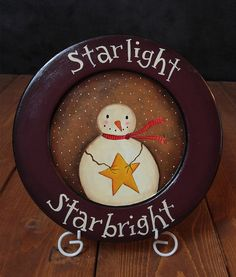 Items similar to Primitive Christmas Decor, Snowman Decorative Plate, Christmas Folk Art Painting, Painted Wood Plate on Etsy Christmas Is Over, Christmas Plates, Christmas Crafts, Hand Painted Plates, Decorative Plates, Wooden Plates, Painted Wood, Primitive Plates, Primitive Patterns