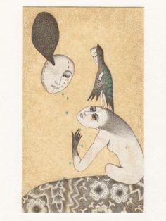 'Dans la chambre' - drawing on tea bag by Grivemune