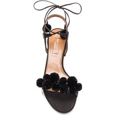 Aquazzura Pom Pom Sandals (6.930 HRK) ❤ liked on Polyvore featuring shoes, sandals, heels, zapatos, pom pom sandals, black heeled sandals, aquazzura shoes, black shoes and black sandals