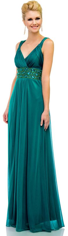 TABITHA Teal Green Beaded Embellished Chiffon Prom Evening Ballgown Dress www.eloises-secret-closet.co.uk
