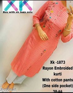 Dupatta Sets designer enbroidried kurti with pant Kurta Fabric: Rayon Bottomwear Fabric: Rayon Fabric: Rayon Sleeve Length: Three-Quarter Sleeves Set Type: Kurta With Bottomwear Bottom Type: Pants Pattern: Printed Multipack: Pack Of 2 Sizes: M (Bust Size: 38 in, Shoulder Size: 14.5 in, Kurta Waist Size: 36 in, Kurta Length Size: 44 in)  Country of Origin: India Sizes Available: M, L, XL, XXL   Catalog Rating: ★4 (509)  Catalog Name: Women Rayon Straight Printed Palazzos Dupatta Set CatalogID_2157014 C74-SC1853 Code: 025-11476246-2331