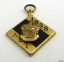 ALPHA SIGMA TAU - sorority 1938 Crest Charm Greek Society Pendant Vintage