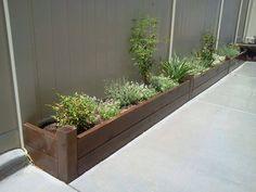 Long Planter Boxes, Outdoor Planter Boxes, Garden Planter Boxes, Wooden Garden Planters, Large Wooden Planters, Rectangular Planters, Modern Landscaping, Backyard Landscaping, Railing Planters