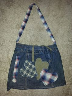 Denim jeans hobo bag purse with flannel by TheTipsyGypsyStore, $58.00