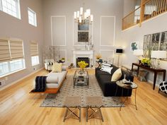 Modern living room lighting high ceiling with hanging chandelier and large window #livingroomlighting