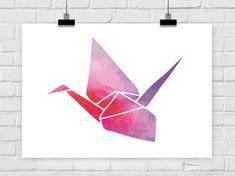 Kunstdruck Origami Kranich Wasserfarben Vogel von PrintsEisenherz