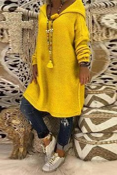 New Yellow Hooded Long Sleeve Casual Pullover Sweater Fall Sweaters, Long Sweaters, Pullover Sweaters, Sweaters For Women, Loose Sweater, Long Sleeve Sweater, Pullover Mode, Sweater Fashion, Casual Tops