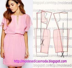 MOLDE DE VESTIDO-164 ~ Moldes Moda por Medida Flutter sleeve dress