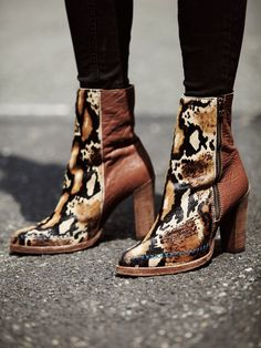 Free People Baroness Ankle Boot with Python Print