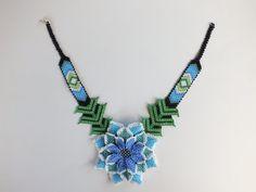 Blue Ethnic NecklaceWoven Necklace Turquoise Gift Huichol