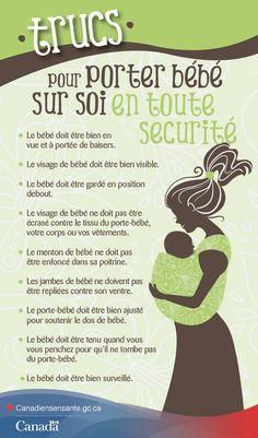 Obtenez des conseils pour bien ajuster le porte-bébé ici : http://canadiensensante.gc.ca/kids-enfants/infant-care-soins-bebe/slings-porte_bebes-fra.php?utm_source=pinterest_hcdns&utm_medium=social&utm_content=Mar6_PorteBebe_FR&utm_campaign=social_media_14