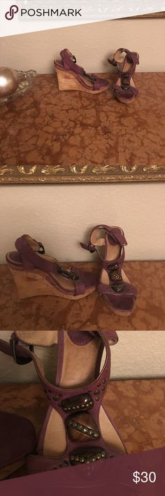 Frye wedges with wood ornament Never worn, collecting dust Frye Shoes Wedges