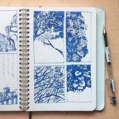 sketchbook spread in blue Arte Sketchbook, Sketchbook Pages, Fashion Sketchbook, Moleskine Sketchbook, Sketch Journal, Stylo Art, Abstract Illustration, Observational Drawing, Sketchbook Inspiration