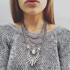 Art Deco Style Statement Necklace #statementnecklace #ootd #silvernecklace - 23,90 € @happinessboutique.com